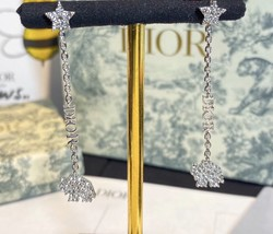 AUTH CHRISTIAN DIOR 2020 WHITE CRYSTAL DIORABLE ELEPHANT SILVER DANGLE EARRINGS image 8