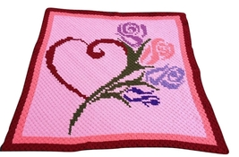 Heart and Roses C2C Crochet Graph Pattern Written Words - $5.50
