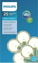 Philips 25ct Christmas LED G40 String Lights Warm White Green Wire New in Box