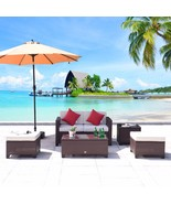 5 PC Wicker Rattan Furniture Set Sofa Cushioned Patio Lawn Loveseat Sect... - $379.99