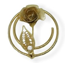 Sarah Coventry Brooch Flower Pin Gold Tone Layered Rose Filigree Leaf Vi... - $12.86