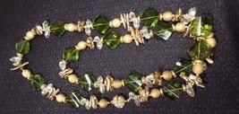"Large Vintage Goldtone & Faceted Green Glass Beaded Necklace 32"" - $40.10"