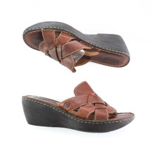 Born Brown Leather Wedge Sandals Slides Slip On Shoes Womens 8 SN W5077 - $34.52