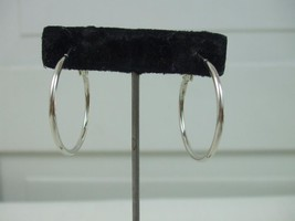 Silver Plated Pierced Hoop Earrings Spring Support Clips Round Ring Dangles 1.25 - $9.99
