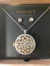 Estate Demi Monet Clear Rhinestone Encrusted Cut-Out Snowflake Round Loc... - $23.23