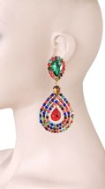 "3.75"" Long, Multicolors Acrylic Rhinestones Clip On earrings Pageant Drag Queen - $19.95"