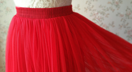 RED Midi Tulle Skirt Red Tiered Tulle Skirt High Waisted Red Tutu Midi Skirt  image 4
