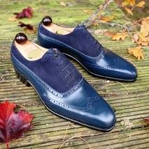 Handmade Men's Blue Leather And Suede Wing Tip Brogues Style Oxford Shoes image 1