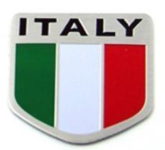 "Italy Italian Car Alloy Aluminum 3D Flag Emblem Badge Decals Sticker 2"" x 2"" - U"