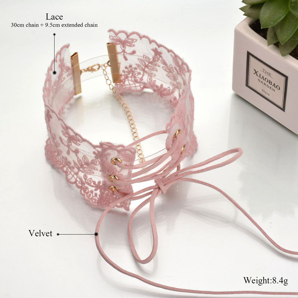 Cute Lace Velvet Choker Necklace Pastel Goth Punk Jewellery Kawaii Accessories