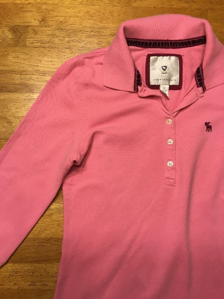 Abercrombie Girl's Pink 3/4 Sleeve Polo Shirt - Size: Large image 7