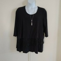 JM Collection Women's 3/4 Sleeve Scoop Neck W/Necklace Ruffle Hem Black ... - $51.43