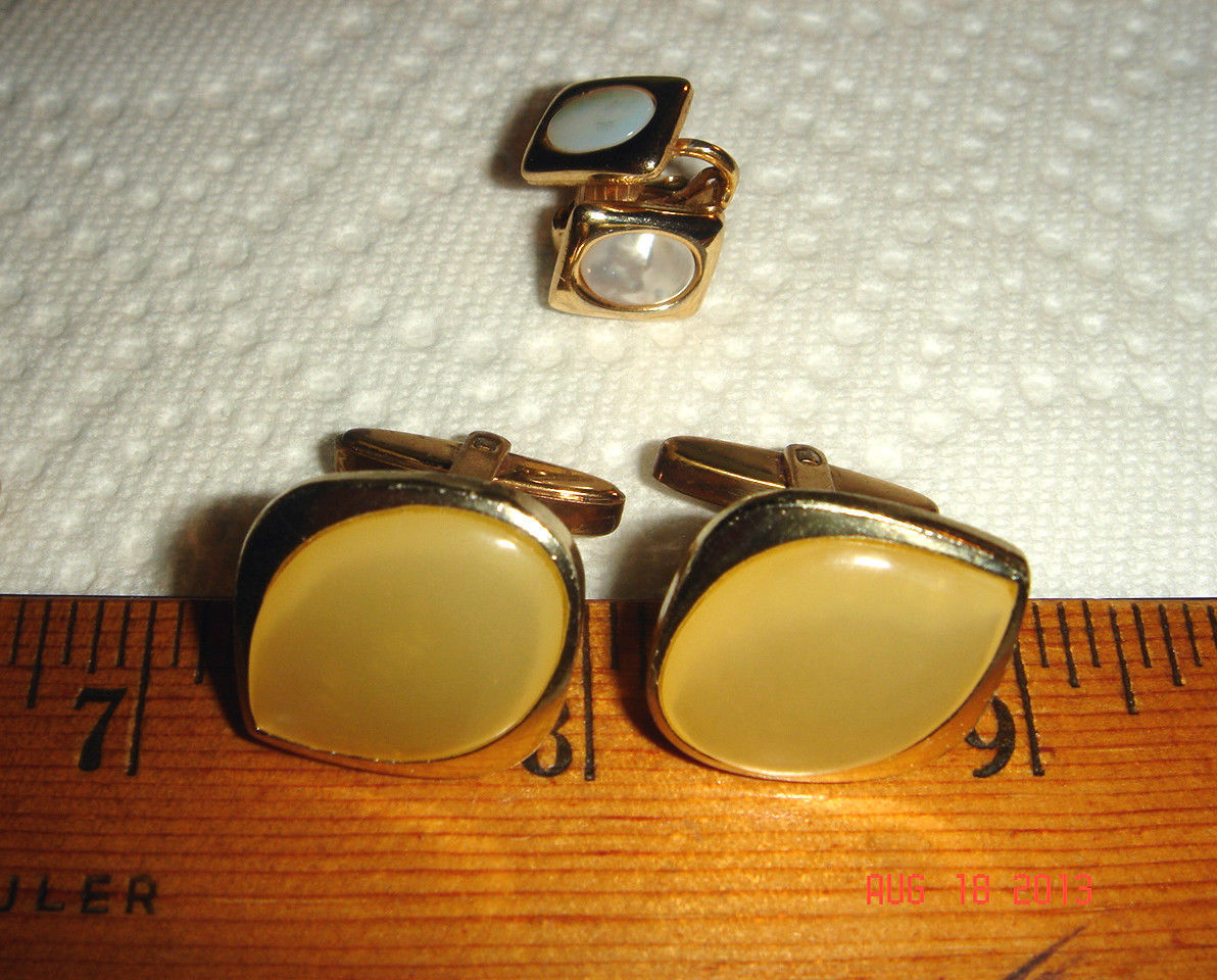 VTG ESTATE SUNNY MOONGLOW CUFF LINKS MOTHER OF PEARL DAINTY EAR CLIP ROMANCE SET