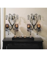 2 Midnight Elegance Candle Wall Sconces w/ Tinted Glass Cups, Beads Cent... - $36.81