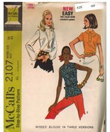 2107 Vintage McCalls Sewing Pattern Misses Darted Blouse Step by Step 3 ... - $4.82