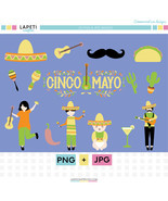 Clipart for Cinco de Mayo | 15 png instant download for cinco de mayo pa... - $4.00