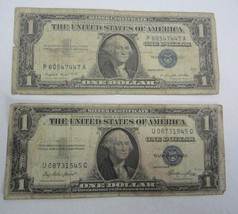 TWO $1  1935-E AND 1957A ONE DOLLAR BILLS BLUE SEAL SILVER CERTIFICATE - $9.46