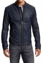Mens Navy Blue  Handmade  Real Bespoke Cowhide  Black Genuine Leather Jacket - $118.79+
