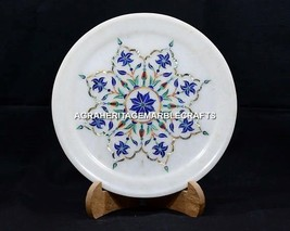 "8"" White Decorative Marble Kitchen Plate Marquetry Mosaic Inlay Art Decor H5408A - $109.68"