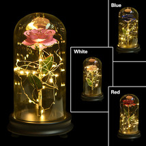 WR Eternal Rose Dipped in 24k Gold Glass Lamp Dome LED Light Gift Beauty... - $29.59