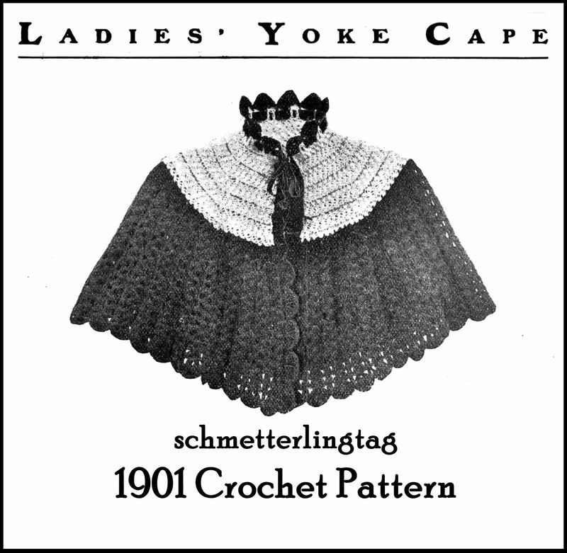 1901 Edwardian Gibson Girl Yoke Cape Crochet Pattern Victorian Reenactment DIY 1
