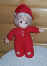 "Precious Moments Cloth & Vinyl 16"" Blonde Baby Doll in Red Sleeper & San... - $11.95"