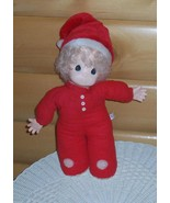 """Precious Moments Cloth & Vinyl 16"""" Blonde Baby Doll in Red Sleeper & San... - $11.95"""