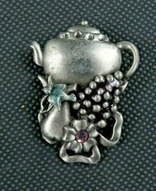 Signed KC Beautiful Statement Silver Tone Teapot and Fruit Brooch Pin 1 ... - $19.99