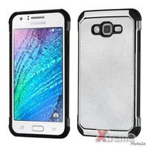 XM-For SAMSUNG GALAXY J7(2015) White PU Leather Back Silver/Black Fusion... - $12.75