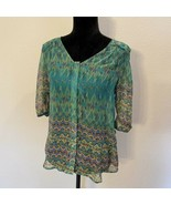 Skies are Blue size small sheer button down blouse green print           C - $16.48