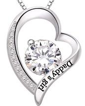 """Daddys Girl"" Heart Necklace Embellished Swarovski Crystals in 18K White... - $24.95"