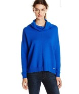 CALVIN KLEIN W RIBBED COWL NECK SWEATER BLU NWT $89.50 - $29.00