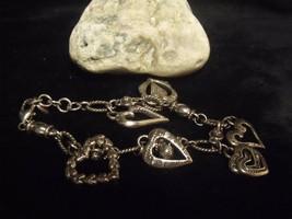 BRIGHTON Vintage Style Silver Heart Charms Bracelet. - $27.72