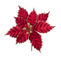 Christmas Floral Red Velvet Poinsettia Pick With Gold Glitter - $11.42