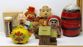 9 Vintage Coin Banks Piggy Monk Hobo Tootsie Roll Chipmunk Barrel Indian... - $42.06
