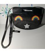 Circus Sam Edelman Straw Purse Shoulder Bag New Black Rainbows Star Prid... - $22.23