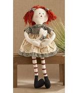 Primitive Doll 40824-sitting raggedy girl green  - $12.95