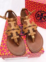 Tory Burch Phoebe Flat Thong Sandals Royal Tan Leather Miller Logo - $220.99+