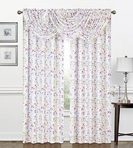 Regal Home Collections Zinnia printed Botanical Crepe Waterfall Window VALANCE w - $16.34