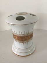 Vintage Lefton  Porcelain Toothbrush Holder Gold Lace Design With Relief - $15.80