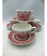 Churchill - Rosa Pink Willow - set/lot of 4 Coffee Cups & Saucers  Engla... - $26.73