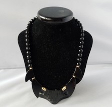 Vintage Black Onyx Bead Real Necklace Gold Tone Statement Costume Fashion - $30.12