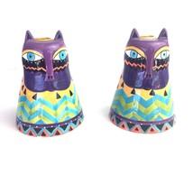 Laurel Burch CatCandlestick Holders Purple Face - $21.99