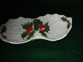 Lefton China White Holly Two Compartment Dish - $29.99