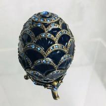Jeweled Egg Trinket Box Blue Enamel Oval Swarovski Crystals Pewter Open Hinge - $28.73