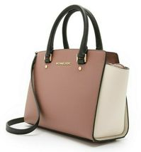 MICHAEL KORS SELMA ROSE PINK BLACK ECRU SAFFIANO LEATHER CROSSBODY SATCHEL*NWT image 3