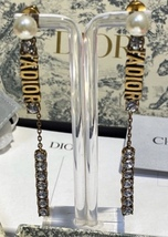 NEW AUTH Christian Dior 2019 J'ADIOR EARRINGS GOLD CRYSTAL DANGLE MULTI STRAND