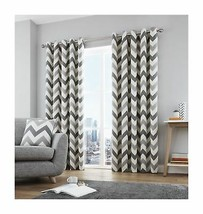 ZIG ZAG CHEVRON GREY CREAM FULLY LINED RING TOP CURTAINS *7 SIZES* - $30.93+