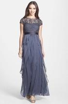 Adrianna Papell Layered Chiffon & Lace Gown Dress Sz 2 - $150.92