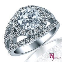 1.98 CARAT (1.00) E/F-SI2 ROUND CUT DIAMOND ENGAGEMENT RING SPLIT 14K WH... - €4.474,95 EUR